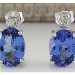 3.26 CTW Natural Tanzanite And Diamond Earrings 18K Solid White Gold