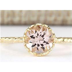 1.20 CTW Natural Morganite Ring In 18K Yellow Gold