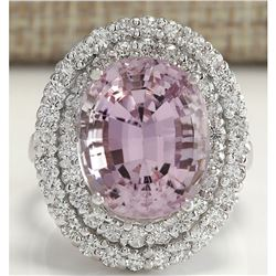 13.33 CTW Natural Kunzite And Diamond Ring 18K Solid White Gold
