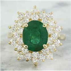 5.90 CTW Emerald 14K Yellow Gold Diamond Ring