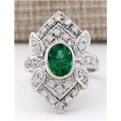 2.50 CTW Natural Emerald And Diamond Ring In 18K White Gold