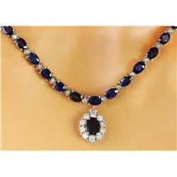 48.83 CTW Natural Sapphire 14K Solid White Gold Diamond Necklace