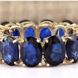 11.20 CTW Natural Sapphire Ring In 14k Yellow Gold