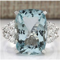 8.13 CTW Natural Aquamarine And Diamond Ring In 18K Solid White Gold
