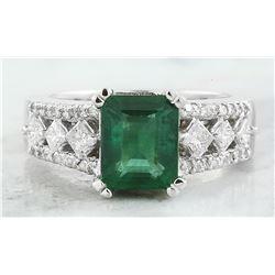 2.95 CTW Emerald 18K White Gold Diamond Ring