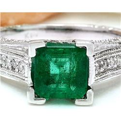 1.96 CTW Natural Emerald 18K Solid White Gold Diamond Ring