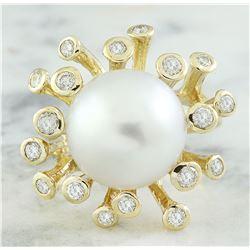 0.80 CTW 13.10 Millimeter Pearl 18K Yellow Gold Diamond Ring