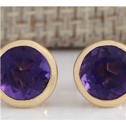 3.00 CTW Natural Amethyst Earrings 14k Solid Yellow Gold