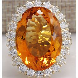 17.91 CTW Natural Citrine And Diamond Ring In 14K Solid Yellow Gold