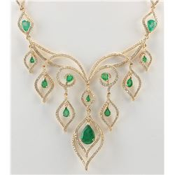 14.80 CTW Natural Emerald And Diamond Necklace In 14K Yellow Gold