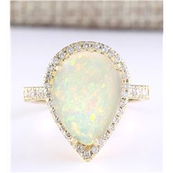 5.27 CTW Natural Opal And Diamond Ring In 18K Yellow Gold