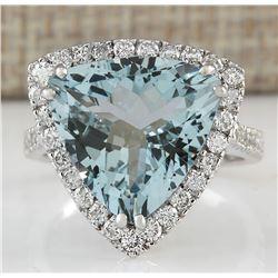 7.75 CTW Natural Aquamarine And Diamond Ring In 18K White Gold