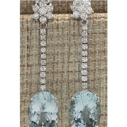 11.69 CTW Natural Aquamarine And Diamond Earrings 18K Solid White Gold