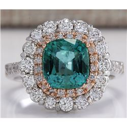 3.26 CTW Natural Emerald And Diamond Ring 18K Solid White Gold
