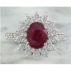 3.20 CTW Ruby 18K White Gold Diamond Ring