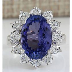 7.03 CTW Natural Blue Tanzanite And Diamond Ring In 14K White Gold