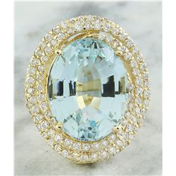 14.75 CTW Aquamarine 14K Yellow Gold Diamond ring