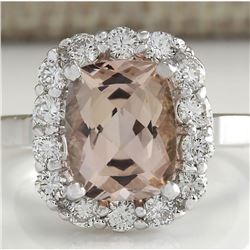 3.76 CTW Natural Peach Morganite And Diamond Ring In 18K Solid White Gold