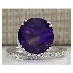 9.22CTW Natural Amethyst And Diamond Ring In 18K Solid White Gold