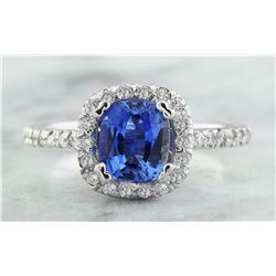 2.25 CTW Sapphire 18K White Gold Diamond Ring