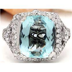 8.00 CTW Natural Aquamarine 18K Solid White Gold Diamond Ring