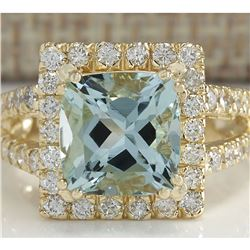 4.13 CTW Natural Aquamarine And Diamond Ring In 18K Solid Yellow Gold