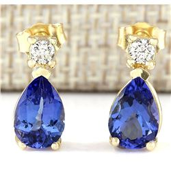 3.40 CTW Natural Tanzanite And Diamond Earrings 18K Solid Yellow Gold