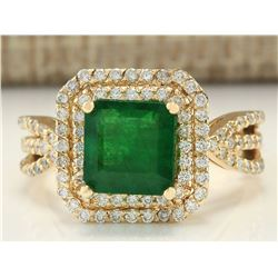 3.13 CTW Natural Emerald And Diamond Ring In 18K Yellow Gold
