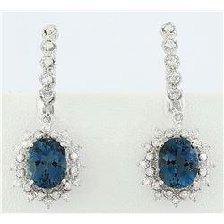 7.50 CTW Topaz 14K White Gold Diamond Earrings