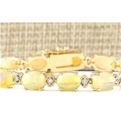 17.91 CTW Natural Opal And Diamond Bracelet In 14k Yellow Gold
