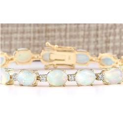 13.80 CTW Natural Opal And Diamond Bracelet In 18K Yellow Gold