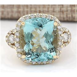15.11 CTW Natural Blue Aquamarine And Diamond Ring In 18K Yellow Gold