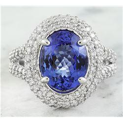 5.50 CTW Tanzanite 18K White Gold Diamond Ring