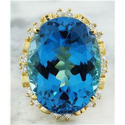 30.50 CTW Topaz 14K Yellow Gold Diamond Ring
