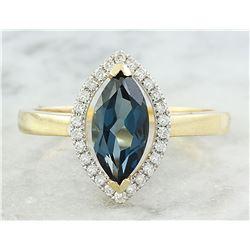 1.32 CTW Topaz 18K Yellow Gold Diamond Ring