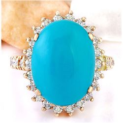 8.54 CTW Natural Turquoise 18K Solid Rose Gold Diamond Ring