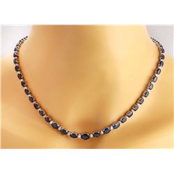 36.00 CTW Natural Sapphire 14K Solid White Gold Diamond Necklace