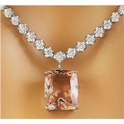 12.60 CTW Morganite 18K White Gold Diamond Necklace
