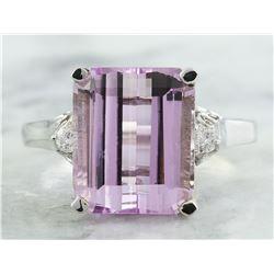 5.06 CTW Kunzite 18K White Gold Diamond Ring