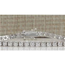 4.80 CTW Natural Dimond Bracelet In 14K Solid White Gold