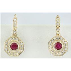 1.60 CTW Ruby 14K Yellow Gold Diamond Errings