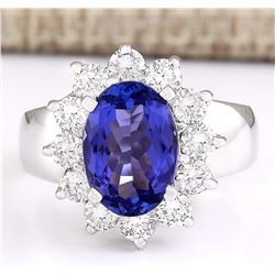 4.12 CTW Natural Blue Tanzanite And Diamond Ring 18K Solid White Gold