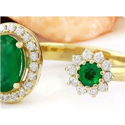 1.20 CTW Natural Emerald 14K Solid Yellow Gold Diamond Ring