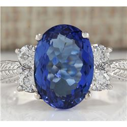 5.11 CTW Natural Tanzanite And Diamond Ring In 18K White Gold