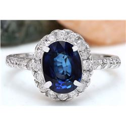 3.20 CTW Natural Sapphire 18K Solid White Gold Diamond Ring