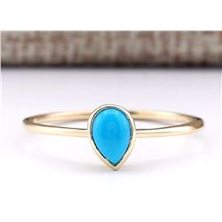 0.40 CTW Natural Turquoise Ring In 14k Yellow Gold