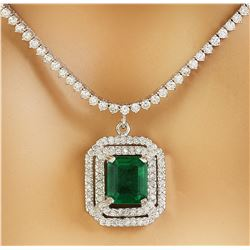 10.50 CTW Emerald 14K White Gold Diamond Necklace
