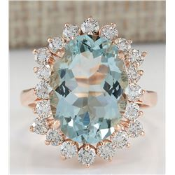 6.41 CTW Natural Aquamarine And Diamond Ring In 18K Rose Gold