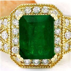 4.35 CTW Natural Emerald 18K Solid Yellow Gold Diamond Ring