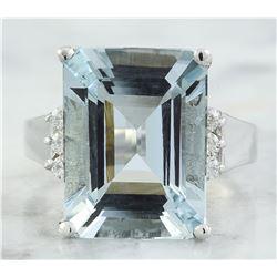9.07 CTW Aquamarine 14K White Gold diamond ring